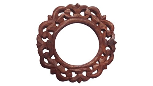 Decorative Rounded Wooden Curtain Tiebacks Curtain Holder Carving Work Holdbacks Curtain Holder Brown Color Size 6 X 6 Inch by IndiaBigShop (Image #1)