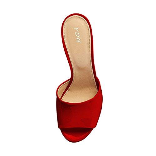 Ydn Kvinder Høje Hæle Platform Muldyr Peep Toe Træsko Slip På Kile Sandaler Slide Sko Rød zoU9eJSh