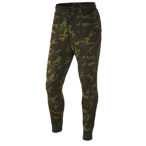 Nike Mens Tech Fleece Camo Pants, Green/Black, Small