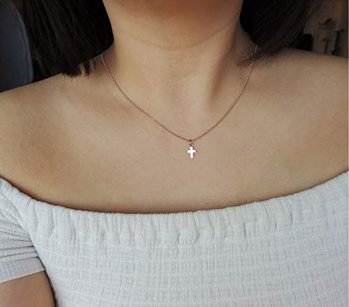 - Very Tiny Rose Gold Cross Necklace • Rose Gold Vermeil Cross Necklace,Mini Cross Charm,Religious Jewelry • Layering Necklace,Minimalist Gift