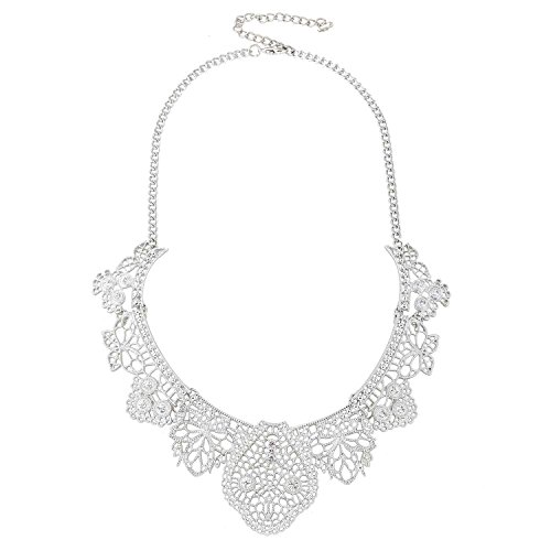 [D EXCEED Vintage Statement Metal Lace Pattern Etched Filigree Crystal Necklace for Women ( Necklace / Silver] (Lobster Costume Pattern)