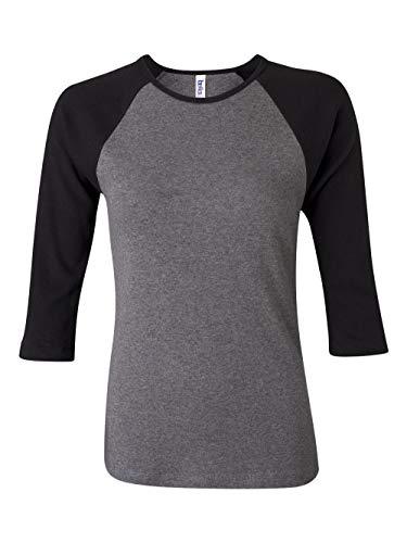 Bella 3/4 Sleeve T-shirt - Ladies' Two-Tone 3/4-Sleeve Raglan Tee Shirt; Color: Deep Heather/Black, Size: X-Large