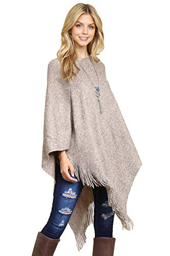 Classic Soft Knit Poncho Shawl Wrap - Basic Warm Pullover Fringe Tassel Sweater Chunky Crochet, Plain (Plain - Light Brown) ()