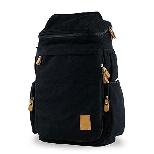 Ibagbar Men's Military Canvas Shoulders Travel Bag Black