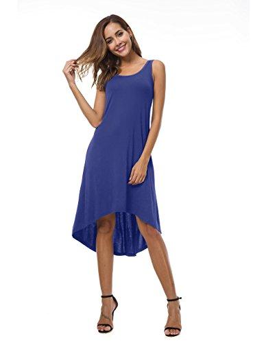 Casual Summer High Blue VOBCTY Beach Dress Super Hem Royal Sleeveless Low Soft wI77UXqx