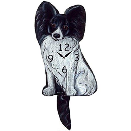 Black Papillon Dog Wagging Tail Pendulum (Tail Wagging Dog Clock)