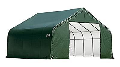 ShelterLogic Peak Style Double Wide Garage/Storage Shelter - Green, 24ft.L x 22ft.W x 13ft.H, 2 3/8in. Frame, Model# 82144