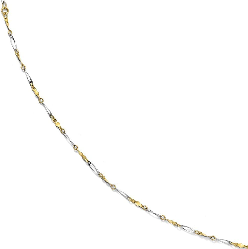 Anklet 2.5mm 10k Two-tone Polished Fancy Link 1inch Ext 9 Inch