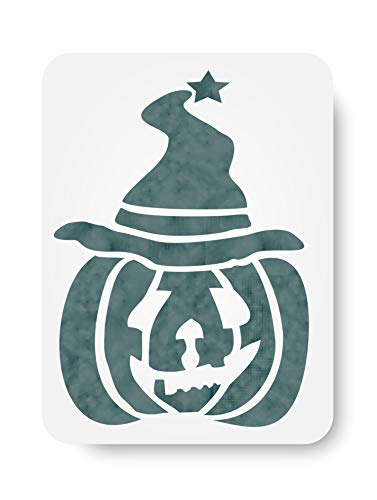 Halloween Pumpkin Wizard Stencil (size 5