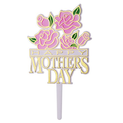 Amosfun Happy Mothers Day Cake Topper Decorative Party Cake Decoration for Mothers Day 10pcs (Pink)