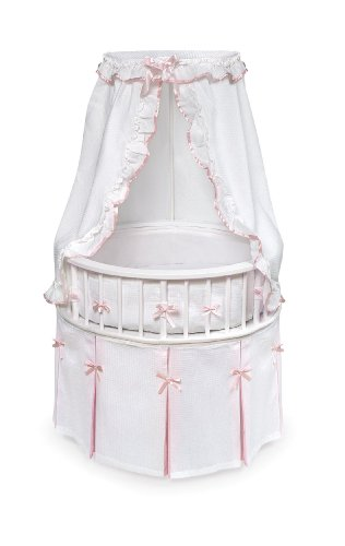 (Elegance Round Wooden Baby Bassinet with Bedding, Canopy, and)
