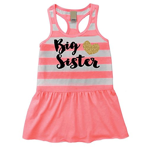 Big Sister Outfit, Baby Girl Clothes, Big Sister Summer Tank Dress (18 Months)
