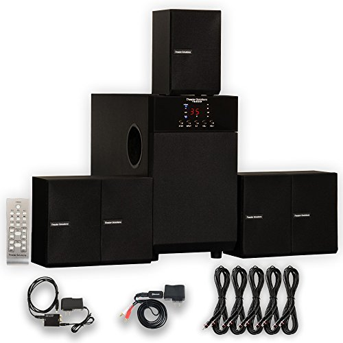 Theater Solutions TS509 Home 5.1 Speaker System with Bluetooth Optical Input and 5 Extension Cables by Theater Solutions