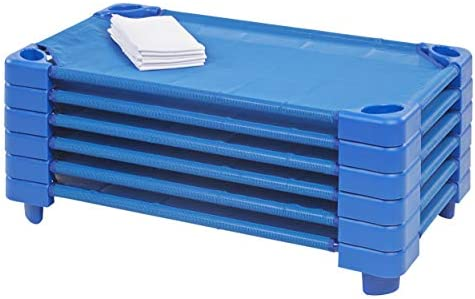 Toddler Size ECR4Kids Stackable Ready To Assemble Kiddie Cot 6-Pack Blue