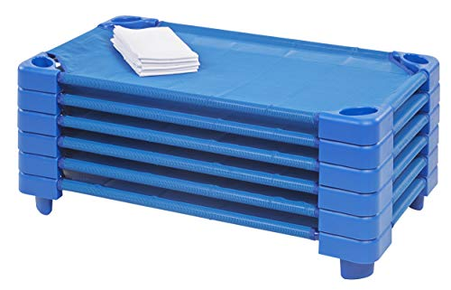 ECR4Kids ELR-16122 Toddler Naptime Cot with Sheets, Stackable Daycare Sleeping Cot for Kids, 40 L x 23 W, Ready-to-Assemble, Blue (Set of 6)