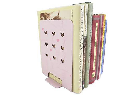 Daiso Japan Kids Heart Non-Skid Metal Bookends 6 x 4.3 Inches Pink (1 Set)