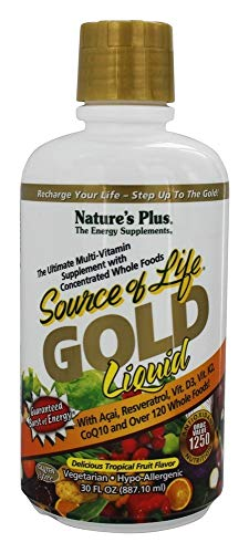 NaturesPlus Source of Life Gold Liquid - 30 fl oz - Tropical Fruit Flavor - Daily High Potency, Organic Whole Food Multivitamin, Prebiotic Complex - Vegetarian, Gluten-Free - 30 Servings
