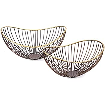 Amazon Com Red Fig Home Decorative Metal Wire Bowls Set Of 2