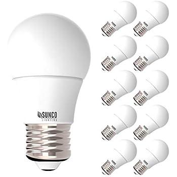 Sunco Lighting 10 Pack A15 LED Bulb, 8W=60W, 2700K Soft White, Dimmable, 800 LM, E26 Base, Refrigerator & Fan Light - UL, Energy Star