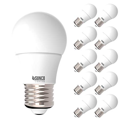 - Sunco Lighting 10 Pack A15 LED Bulb, 8W=60W, 4000K Cool White, Dimmable, 800 LM, E26 Base, Refrigerator & Fan Light - UL, Energy Star