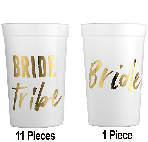 Monogrammed Favor Boxes - MITO INC (12 pack) Wild Bride and Bride Tribe - White and Gold Cups for a Bachelorette Party
