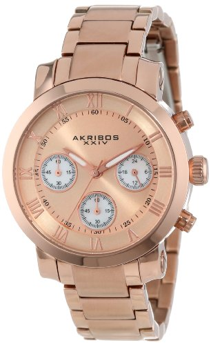 Akribos XXIV Women's AK623RG Grandiose Chronograph Rose-Tone Stainless Steel Bracelet Watch