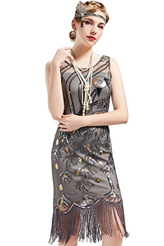 BABEYOND 20's Vintage Peacock Sequin Fringed Party Flapper Dress (X-Large, Gray)