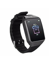 Reloj inteligente Bluetooth con visualización táctil con cámara, TechFaith G12 desbloqueado teléfono celular con ranura de tarjeta Sim, reloj de pulsera inteligente, reloj inteligente para Android Samsung IOS iPhone Smartphones, Negro