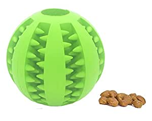 HOOCHYE Pet Dog and Cat Treat Tooth Cleaning Toy IQ Ball-Soft Rubber Bouncy Ball for Pet Training/Playing/Chewing