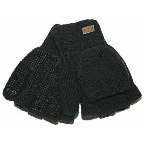 KINCO 5110-XL Men's Alyeska Rag Gloves, Wool Lined Half Finger with PVC Dots, X-Large, Black