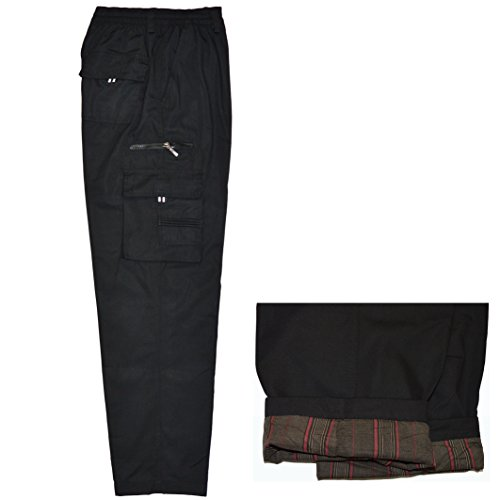 Herren Thermohose Cargo Winter Winterhose Cargohose Warm mit Futter Freizeithose Pants gefüttert (L, Shwarz)