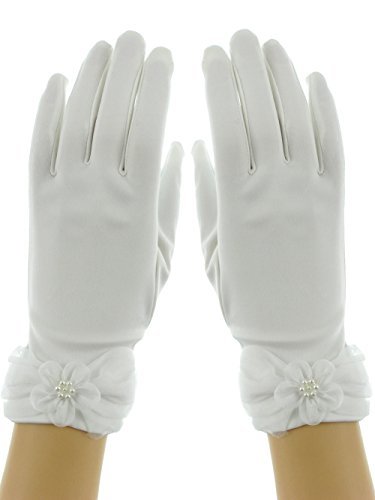 Wrist Length 9-in Floral Organza Faux Pearl Stretchy Matt Satin Bridal Gloves Matt White