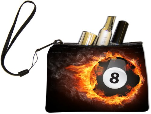 Knight Pool Table (Rikki Knight Pool Billiards Ball on fire Design Keys Coins Cards Cosmetic Mini Clutch Wristlet)