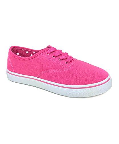 Förtrolla-55 Multi Duk Spets-up Grundläggande Womens Fashion Sneaker D-rosa