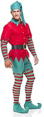Adult's Holiday Christmas Elf Costume With Leggings