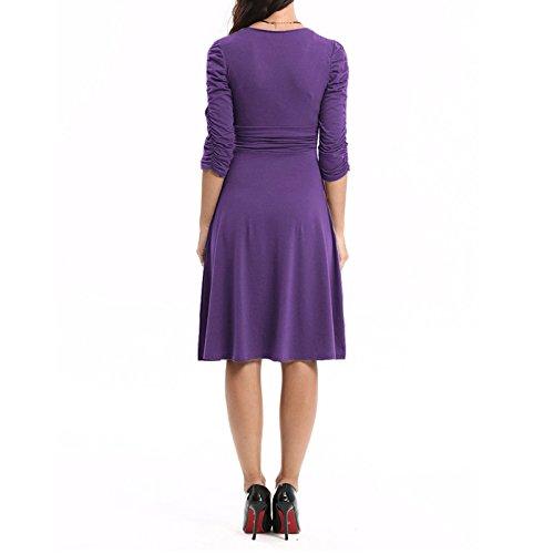 Manches Dantiya Col En V Femmes 3/4 Taille Froncée Robe De Cocktail Décontracté Violet