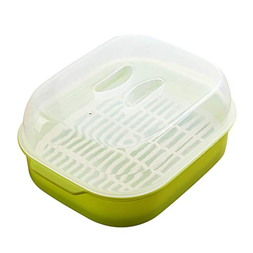 Microwave Oven Steamer Cook Container with Lid Plastic for Steamed Bread Bun Dumpling Fish Kitchen Utensil (Green)