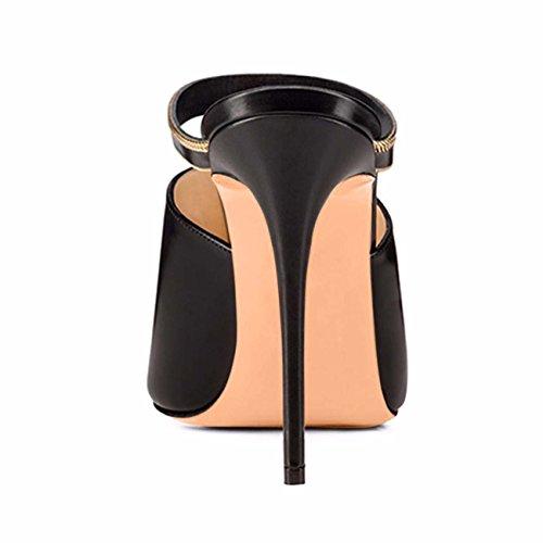 Con Sandali Black Shoes Scarpe Moda Alto Sandali Tacco Ms GONGFF qzEtO