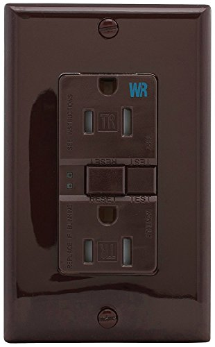 EATON Wiring GFCI Self-Test 15A -125V Duplex Receptacle with Standard Size Wallplate, Brown