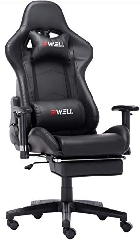 Ergonomic Gaming Chair with Headrest and Lumbar Massage Support,Racing Style PC Computer Chair Height Adjustable Swivel with Retractable Footrest Support Leather Reclining Executive Office Chai(Black)