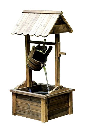 Wishing Well Wood Outdoor Patio Water Fountain with Pump SKU: PL50002 by PSW - Water Fountains