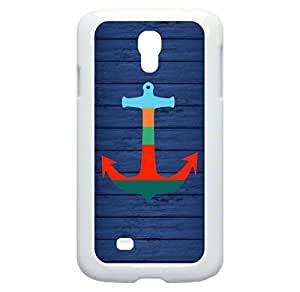 Pieced Anchor on Wood Print- Hard White Plastic Case with Tough Soft Inner Black Rubber Lining- for the Samsung Galaxy s4 i9500