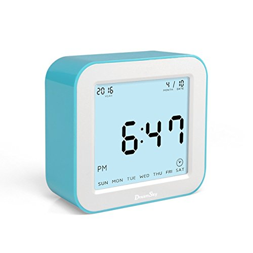DreamSk Dual Alarm Clock With Snooze And Smart Nightlight,Simple To Set,Battery Operated Clock For Bedroom/Bedside/Nightstand. (blue) by Generic
