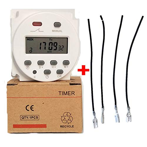(Seven Day Heavy Duty LCD Digital Programmable Timer CN101A DC/AC 12V 16A Solar Battery Powered Support 17-times Daily Weekly Program (Indoor) )