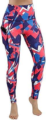 ODODODOS High Waist Out Pocket Printed Yoga Pants Tummy Control Workout Running 4 Way Stretch Yoga Leggings,Triangle,X-Large