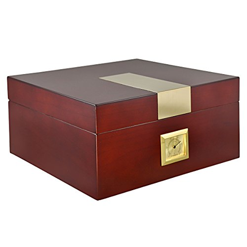 La Cubana Cherry Wooden Cigar Humidor with Golden Metal