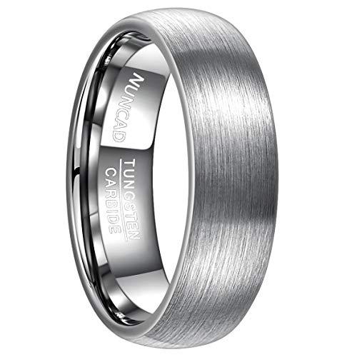 NUNCAD Herren Ring Silber aus Wolfram mit polierter Oberschicht, Unisex Ring 7mm breit, Fashion Ring für Hochzeit, Verlobung und Geburtstag, Größe 52 bis 72