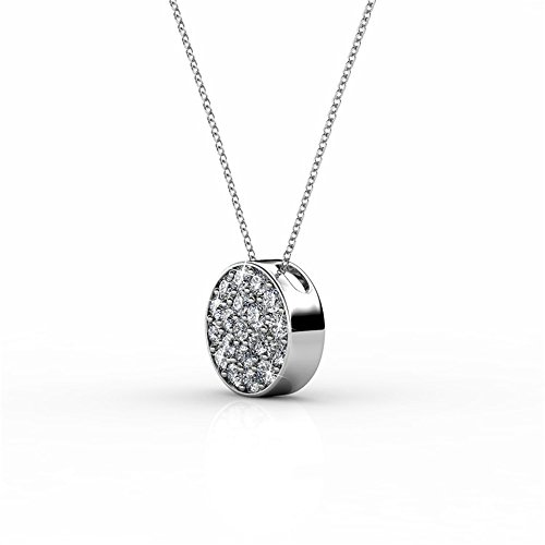 """Cate & Chloe Nelly """"Valor"""" White Gold Plated Pave Stone Necklace with Swarovski Crystals, Modern Trendy Beautiful Round Cut Diamond Cluster Necklace, Wedding Fashion Statement Necklaces - MSRP $14"""