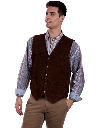 Calf Leather Large (Scully Western Vest Mens Five Snap Leather XXL Brown Calf Suede 507)