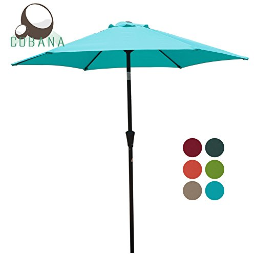 COBANA 7.5Ft Patio Garden Outdoor Market Umbrella with Tilt and Crank Turquoise 7.5' Crank